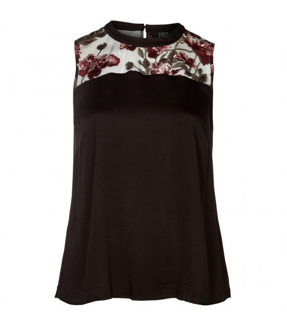 ZOEY - TOP M/BLOMST BRODERI