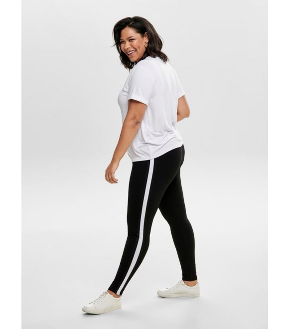 Only Carmakoma - LEGGINGS M/HVID PIPING